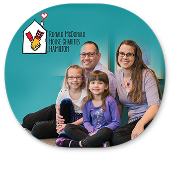 Ronald McDonald House Charities Hamilton Logo with Family Picture